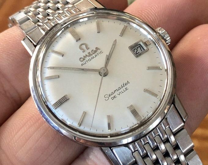 Omega Mens Seamaster De Ville vintage Mens watch Stainless Steel Omega bracelet 1960s + Box