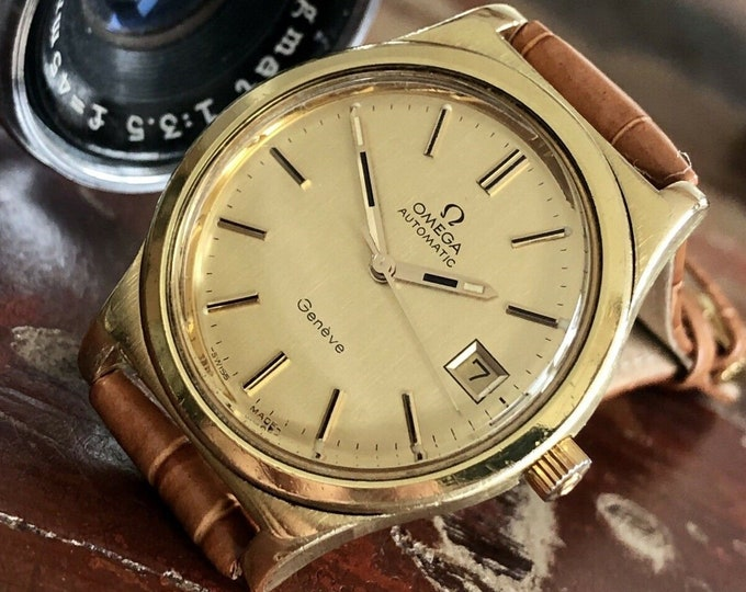 Omega 1973 vintage Geneve Gold Plated Automatic Leather Mens used July 2020 watch + Box