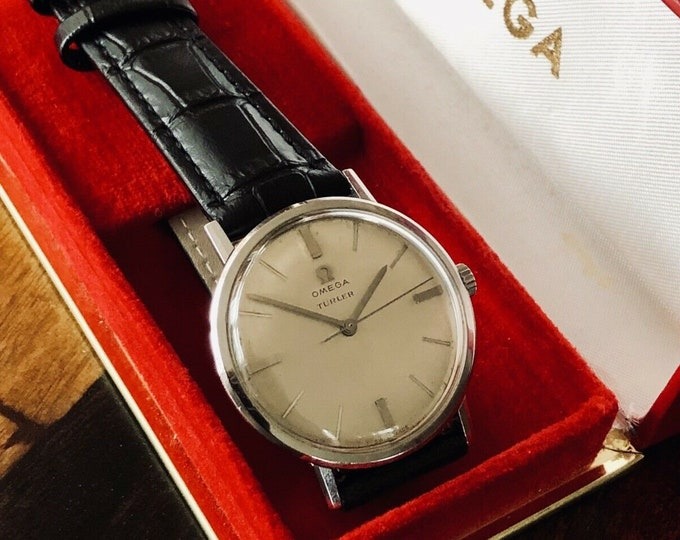 Omega vintage Stainless Steel Turler Mechanical Cal 600 Mens 1963 watch + Red Box