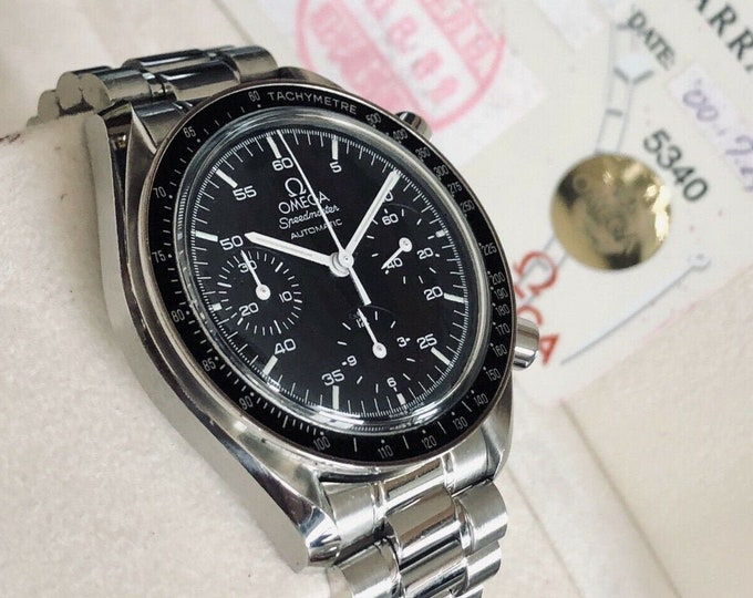 Omega Speedmaster 38mm Reduced Black Dial Automatic Chronograph Full Set including card watch + Box