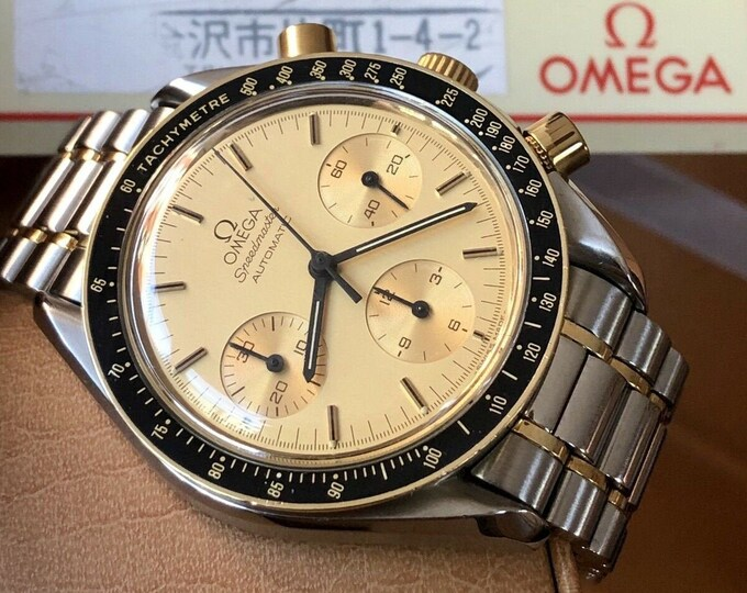 Omega Speedmaster 175.0032 18K Gold & Steel Dial Men's Automatic Calibre 1140 watch + Box
