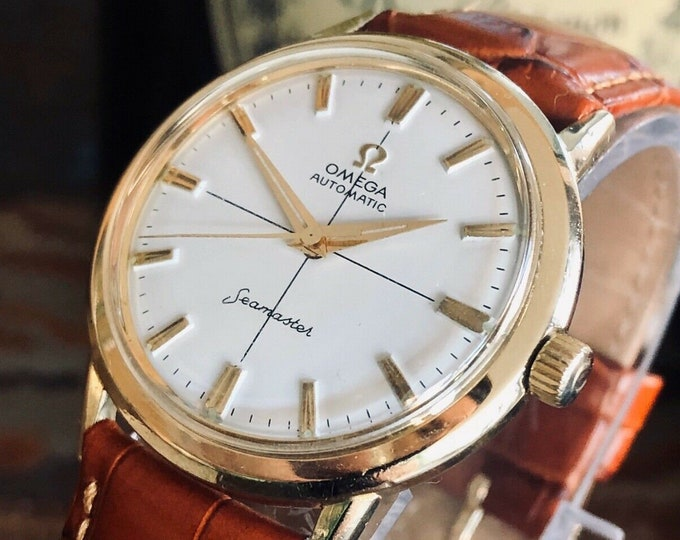 Omega Automatic Seamaster 1962 Mens Vintage wristwatch Gold Plated Steel used second hand retro classic watch + New Box
