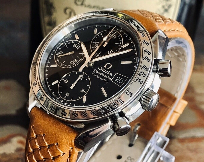 Omega Speedmaster Reduced size Steel + Leather Black Dial Mens 38mm Automatic box 2000s stunning watch + New Box