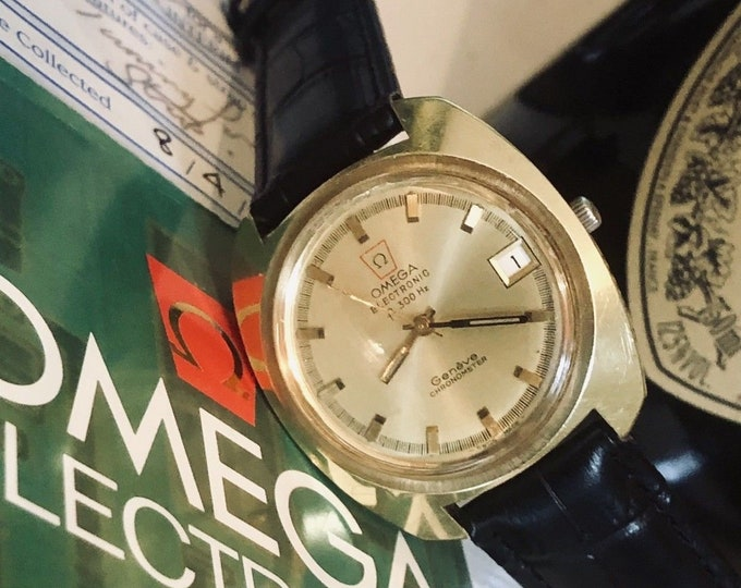OMEGA Geneve Vintage Mens Chronometer 1970s  Electronic F300hz Quartz F300 Tuning Folk Gold Gents Watch CAL 1260 + Box + Papers