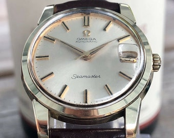 da1ca3a017f26a Omega Mens gold Seamaster 1960s Stainless second hand vintage Watch CAL 565  Automatic 1960s luxury new leather band strap + Box