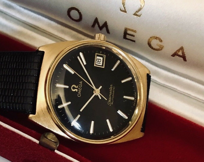 Omega 1970 Seamaster Automatic vintage watch mechanical CAL 1012 black dial Gold mens wristwatch + Box
