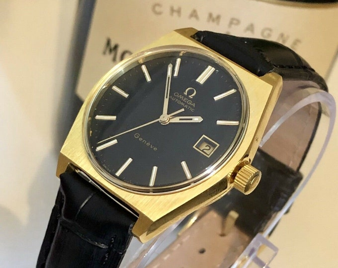 OMEGA Mens Black Face Dial Geneve Automatic vintage watch in mint condition 20 microns Gold Plated + Box