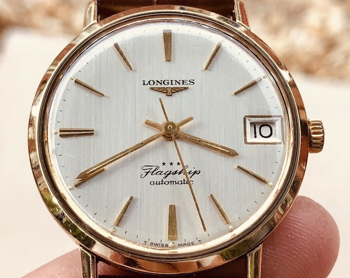 Longines Flagship second hand mens used automatic gold plated steel 1960 - 1969 watch + Box