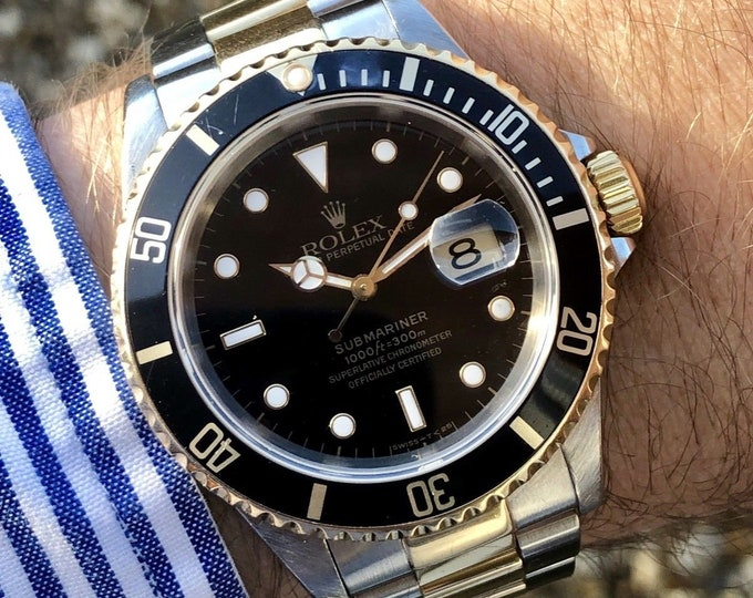 Rolex Submariner Date 16613 Bi-Metal 18K Gold Steel Bracelet Colour Black Dial 1990s | Serviced January 2018 | Waterproof | Box | Gold