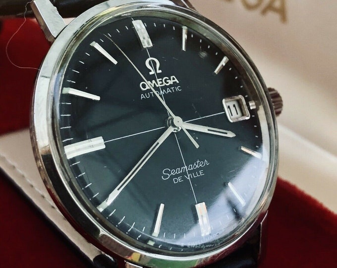 Omega Mens Black Dial Crosshair Seamaster De Ville vintage 1960s Cal 562 Date Display Automatic leather strap + Box Don Draper Mad Men