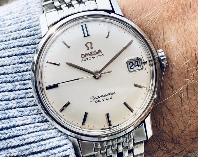 Omega Seamaster De Ville vintage watch Mechanical Automatic Stainless Steel with Date and bracelet 1960s used second hand + Box