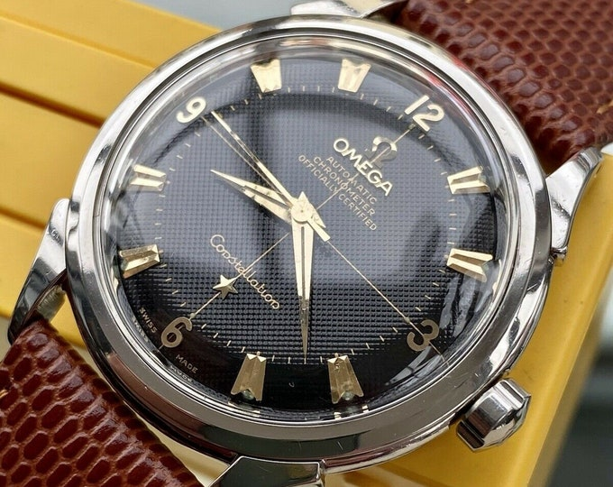 Omega Constellation Automatic Pie Pan vintage mens Waffle Black Dial 1954 Serviced March 2021 watch + Red Box
