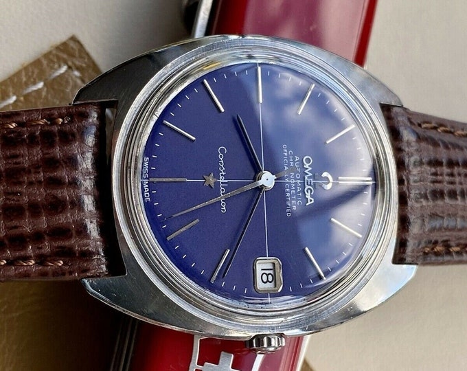 Omega Automatic Constellation Blue Dial Steel Mens Vintage 1970s used watch