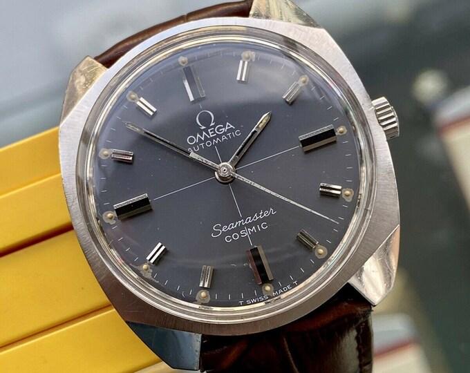Omega Seamaster Cosmic Steel Grey Dial Mens Vintage 1960s steel bracelet watch