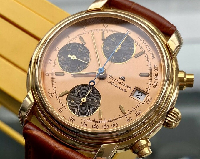 Maurice Lacroix Yellow Gold Salmon Pink Dial Automatic Mens Chronograph Watch