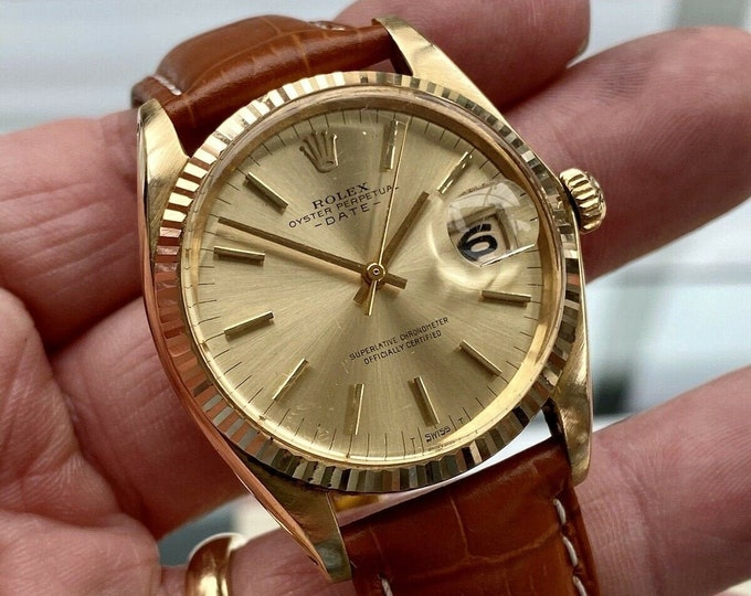 Rolex Oyster Date Perpetual 1500 18K 750 Yellow Solid Gold Automatic Men Vintage 1970 watch