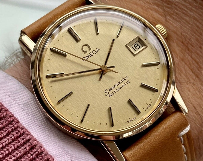 Omega Seamaster Date Vintage Mens Automatic Gold Plated Men's 1979 caliber 1010 watch