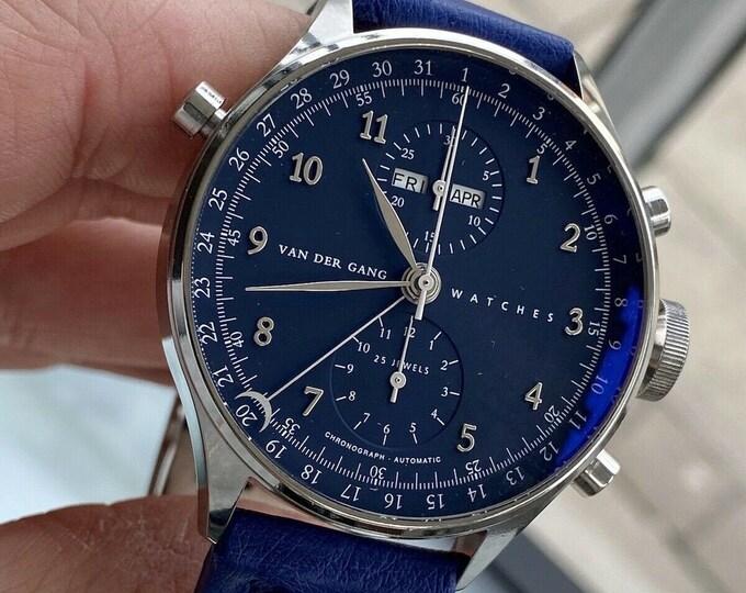 Overig VAN DER GANG Chronograph Chronograaf Automatic Triple Date Blue Dial 41.50mm men's Ref 20003 Watch