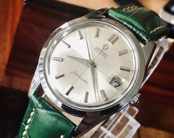 Omega Seamaster Vintage 1961 Automatic Crosshair dial x3 straps bands Steel Mens calibre 562 watch + Box