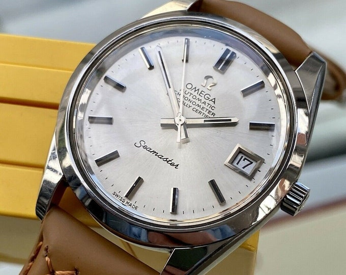 Omega Seamaster Leather Steel Mens Vintage 1972 Automatic second hand used watch