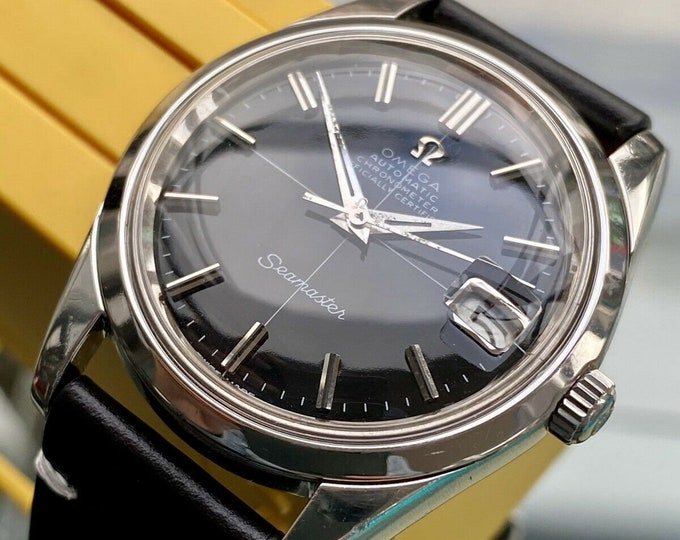 Omega Seamaster Chronometer Black dial Face Mens Vintage 1969 Automatic 35.5mm Jumbo Steel Leather watch