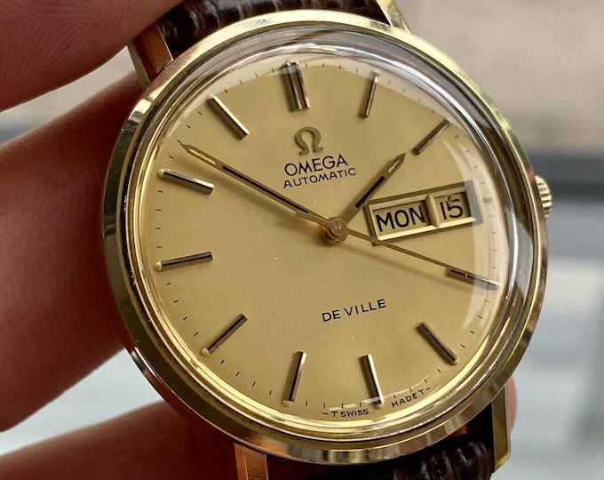 Omega De Ville Day Date Gold Automatic Leather Strap Mens vintage 1970s watch