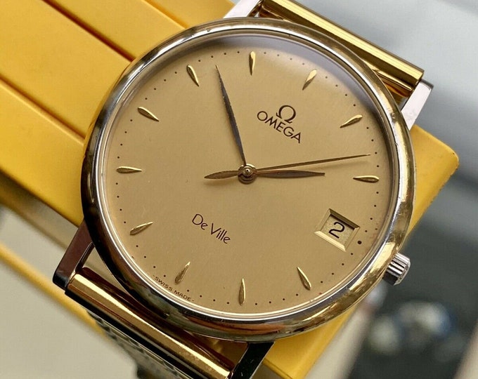 Omega vintage dress watch De Ville Prestige Gold Steel Bracelet men 1999 watch + Box