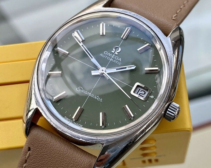 Omega Automatic Seamaster Olive Green Dial Steel Mens Vintage 1972 watch serviced September 2021