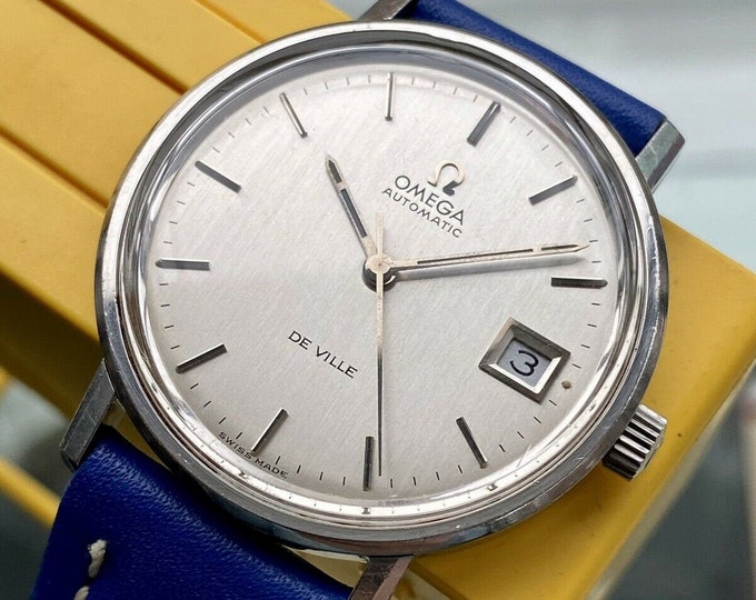 Omega 1970s vintage De Ville Steel Automatic Caliber 1002 Date leather Mens used watch + Box
