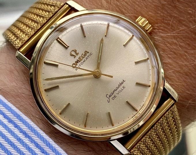 Omega Seamaster De Ville Automatic Gold Steel vintage Milanese Bracelet mens watch + Box