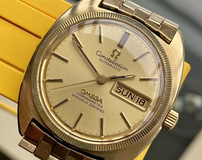 Omega Constellation Day Date Automatic caliber 751 Gold Plated Bracelet Mens Vintage watch