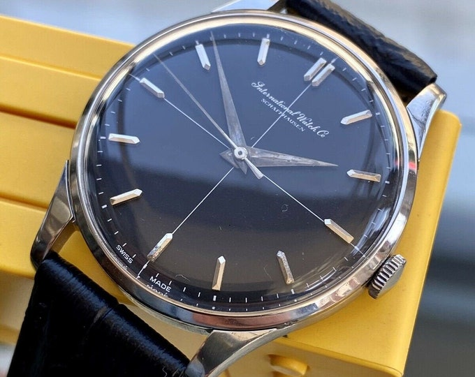 International Watch Company IWC Vintage Mens Black Mechanical Hand Winding steel 1960s watch + box