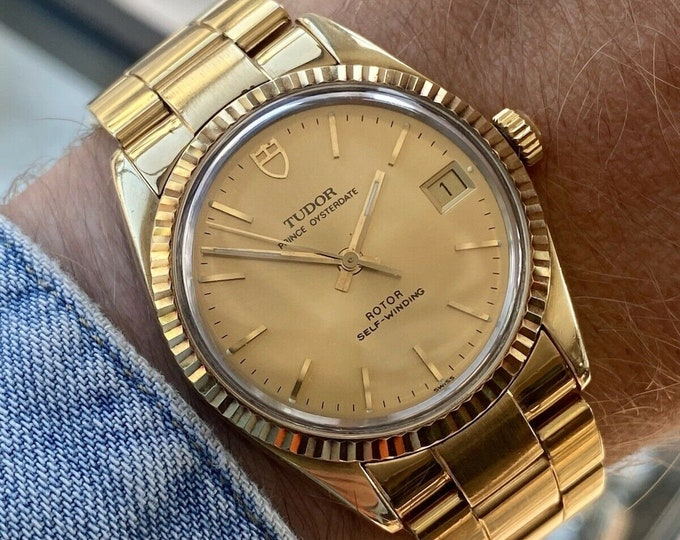 Tudor Two Tone Prince Oysterdate 74035 Date Men Automatic Rolex Made Gold Vintage 1990s Box Papers watch