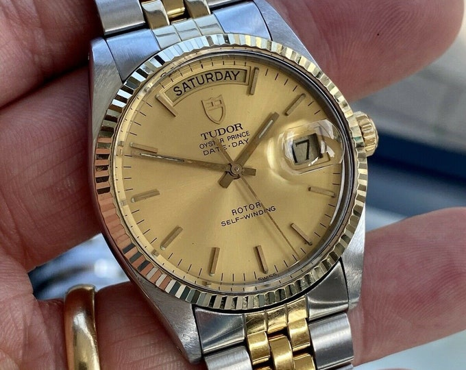 Tudor Two Tone Prince Date 74035 Day Date Men Automatic Rolex Made Gold Vintage 1991 watch
