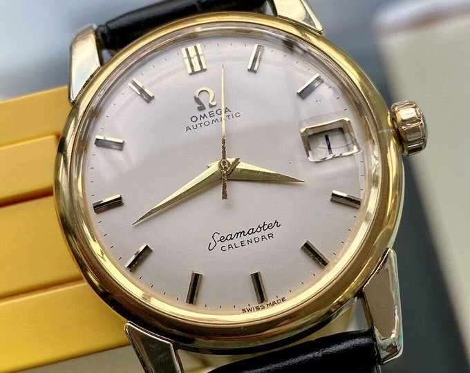 Omega Seamaster Gold Vintage Steel Mens Date Calendar Date 1959 watch + Service card + New Box