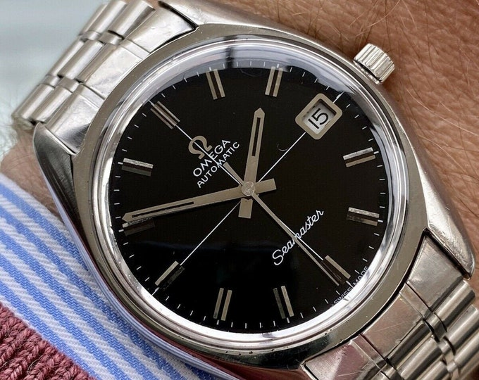 Omega Seamaster Beefy Lug 1972 Black Dial Steel Bracelet Mens Vintage Automatic serviced April 2021 watch + Box
