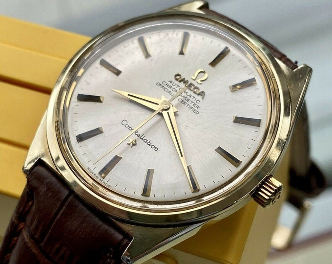 Omega Constellation Automatic Chronometer vintage mens gold 1960s Leather watch