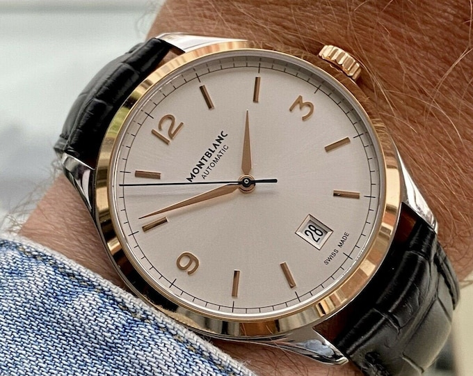 Montblanc Heritage Chronometrie 112521 38mm Rose Gold used second hand 2000s papers box Mens dress formal 38mm watch