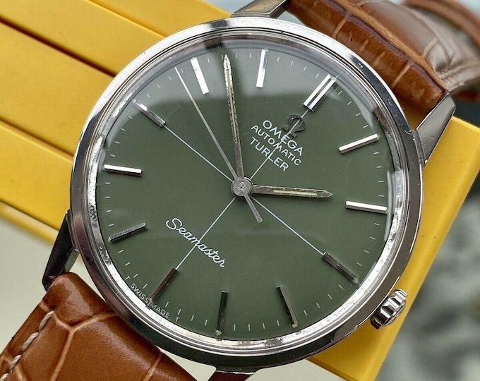 Omega Automatic Seamaster TURLER Green Dial Steel Mens Vintage serviced March 2021 March watch