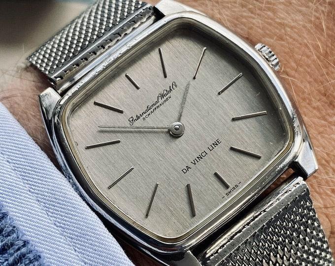 International Watch Company IWC Da Vinci Vintage Mens Mechanical Hand Winding steel 1960s Milanese bracelet serviced May 2021 watch + box
