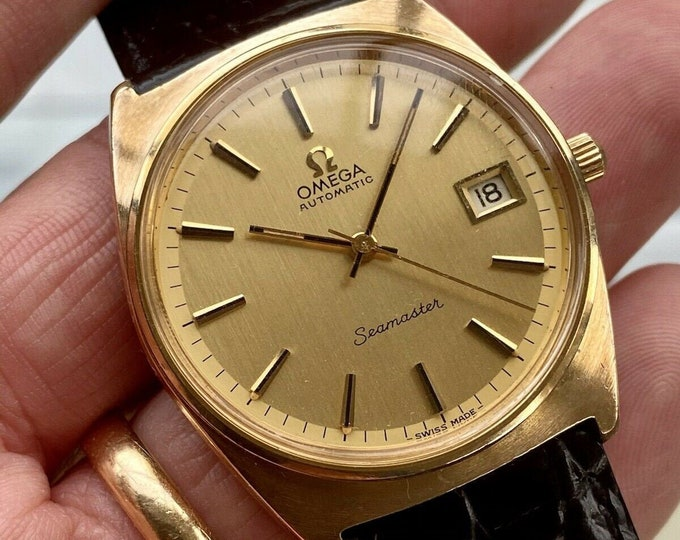Omega Seamaster Beefy Lug 1971 Gold Plated Mens Vintage Automatic Serviced December 2020 watch