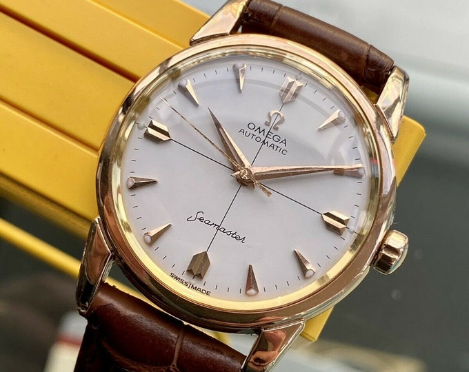 Omega vintage 1958 Rose Gold Seamaster Men's Automatic 501 Dress serviced watch