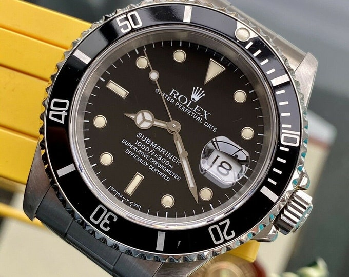 Rolex 16610 Submariner Black Dial Steel Mens watch Semi Vintage 1991 N Serviced October 2020 wristwatch