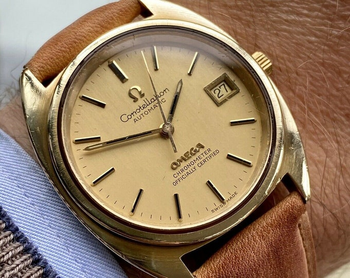 Omega Constellation Automatic 36m Champagne dial Gold Mens Vintage 1971 watch