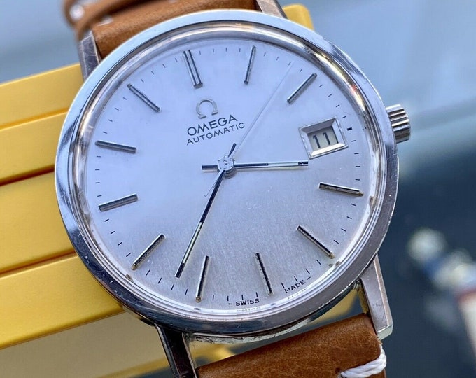 Omega Classic 1977 Steel Bracelet Mens Vintage Automatic Date 34.5mm watch + Box