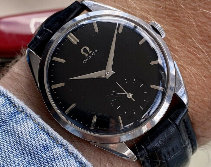 Omega Hand Wind Sub Seconds Stainless Black Dial Steel Mens Vintage 1950s watch serviced June 2021