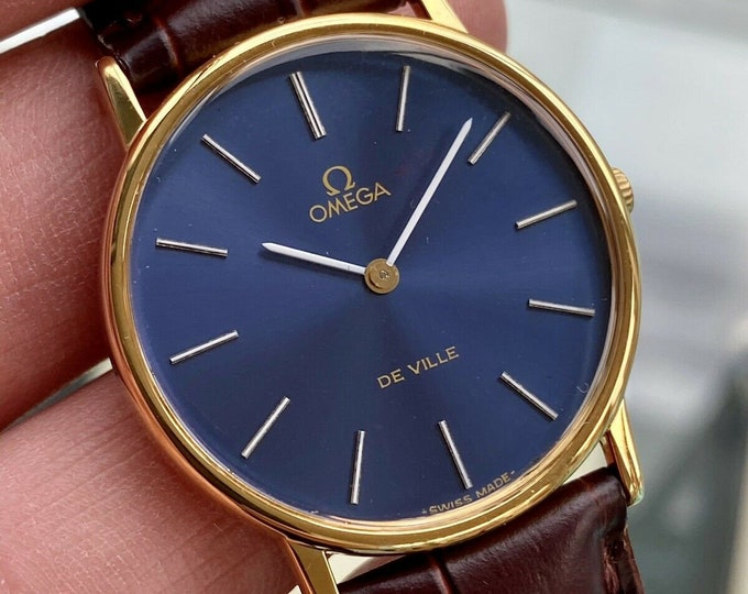 Omega vintage 1960s Blue Dial Mens vintage watch De Ville Gold Plated 33mm watch