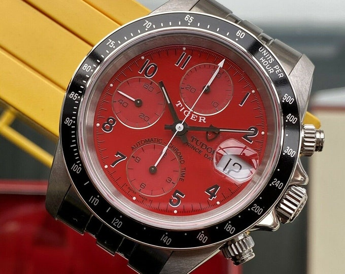 Tudor Tiger 1999 Full Set Red Dial Box Papers Men 79260 steel Prince Date papers plus rolex service papers box