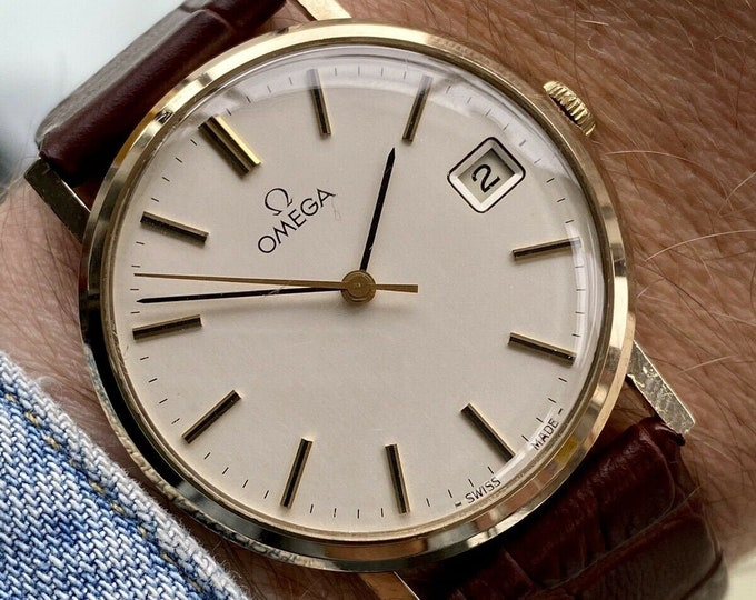 Omega Square Dial Solid 9K Rose Gold Vintage Mens Mechanical Hand Wind 34mm unisex watch + Box
