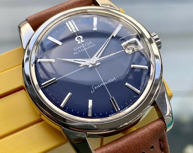 Omega Seamaster Blue Dial Steel Mens Vintage 1962 Automatic Stunning serviced November 2020 watch